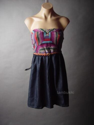Sale Colorful Folk Embroidery Bustier Belted Denim Twofer Sun 35 mv Dress S M L