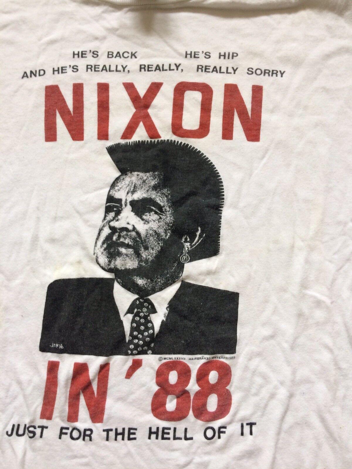 Rare 1988 Badger Harbran 3D Enterprise Nixon tag T-Shirt vtg 80s  rock punk Xl