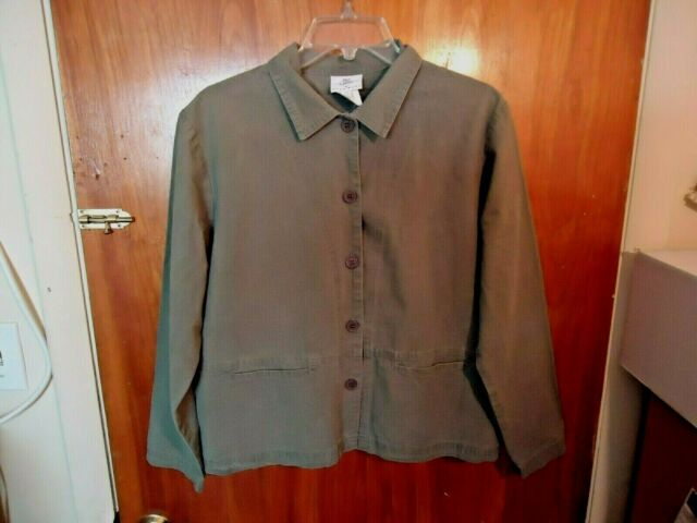 Womens Hot Cotton Olive / Army Green Long Sleeve Button Down Blazer / Jacket