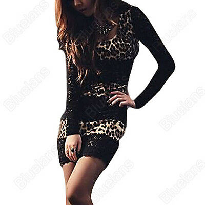 Womens Sexy Leopard Clubwear Dresses Cocktail Wrap Mini Skirt Party Dress Tights