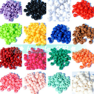 NEW-100-1400pcs-10mm-Round-Acrylic-Spacer-Loose-Big-Hole-Beads-22-Colors