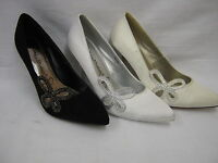 Ladies Satin Court/wedding Shoes With Diamante Butterfly Trim 9736