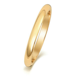 9CT-GOLD-WEDDING-RING-YELLOW-D-SHAPE-LADIES-GENTS-PLAIN-BAND-FREE-ENGRAVING-BOX