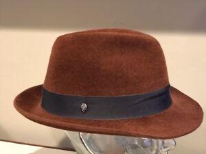 $170 Helen Kaminski 100/% Velour Fur Felt Carry Fedora  57 58   Large   NEW