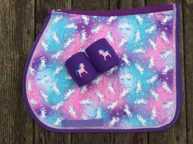 Saddle Pad UNICORNS  Bling Trim Horse or Pony Size with Polo Wraps