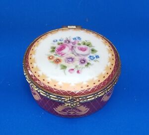 Vintage Round Floral Porcelain Pill/Trinket/Jewelry Box