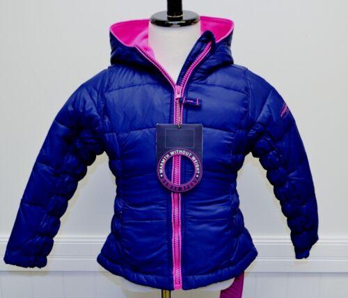 Hawke and Co Sport Girls Winter Coat Navy Blue Pink Trim Down Jacket Light Warm