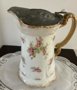 Vintage-Early-1900-Soho-Pottery-Liddled-Pitcher-7-Inches-Tall-Over-100-Years-Old