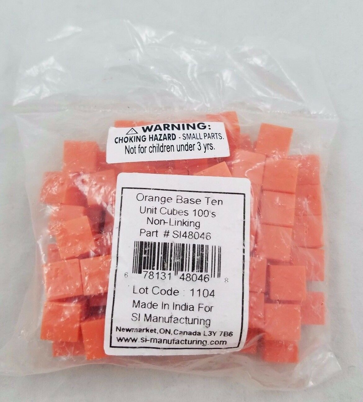 SI Math Manipulatives orange Base Ten 10 Unit Cubes 100s Homeschool School