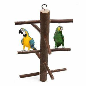Parrot-Branch-Stand-Bird-Rack-Wooden-Platform-Parakeet-Budgie-Climbing-Perch