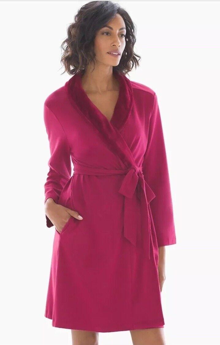 Soma Embraceable Plush Collar Short Robe Cranberry - Bathrobe Size L XL NWT  70