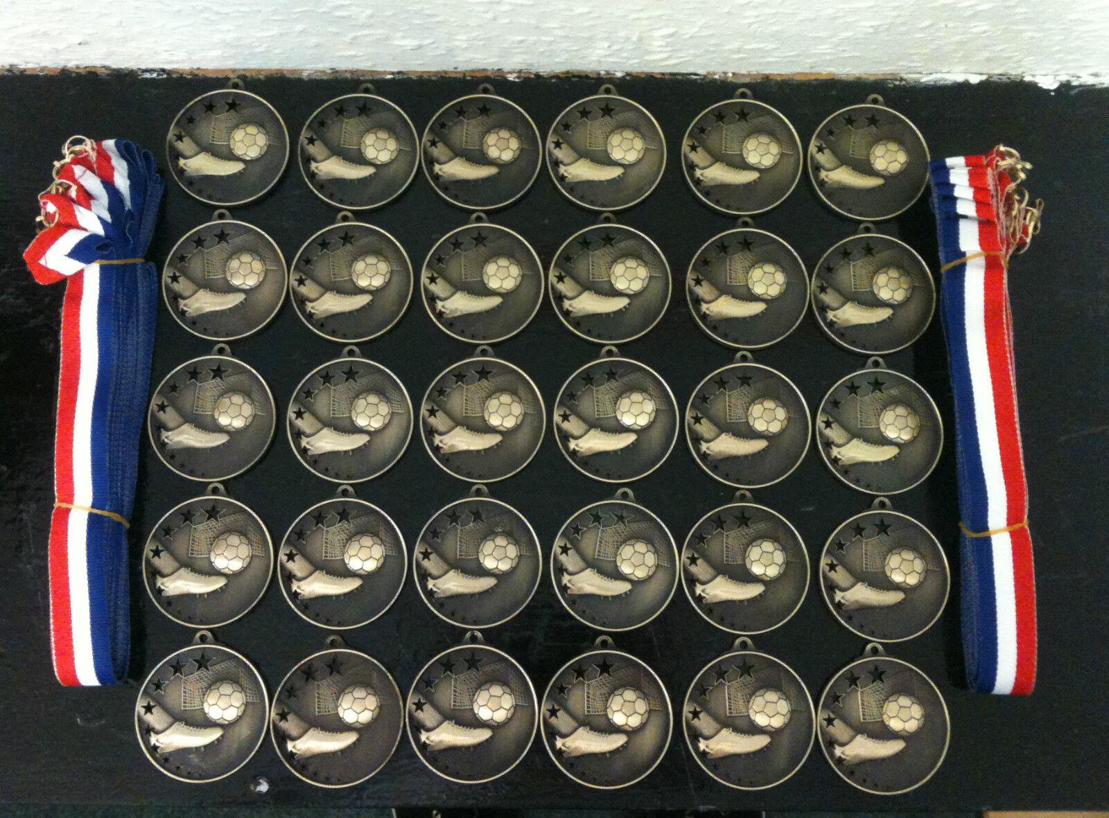 30 x Junior/Senior Football Medals (50mm BRONZE METAL) + Ribbons (AM502B)