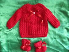 layette brassiere bébé naissance 3mois tricotée main en france rouge  chaussons