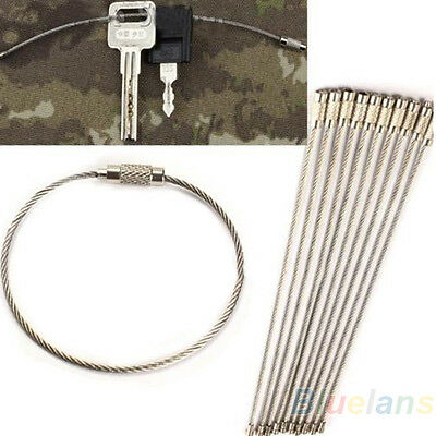 10X Hiking Stainless Steel Wire Keychain Camping Key Ring Cable High Quality B82