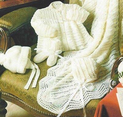 Baby Shawl Matinee Coat Bonnet Helmet Socks Knitting Pattern Layette 4ply 850