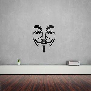 Anonymous Guy Fawkes Máscara Vinilo el arte de pared calcomanía Para Decoración Del Hogar / Interior Desi...  </span>