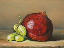 Original Oil Painting Still Life Fine Art Green Grapes And Pomegranate 6x8 Tatin