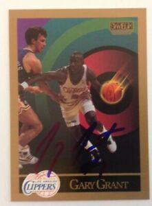 Gary Grant 1990 SkyBox Hand Signed Card Los Angeles Clippers