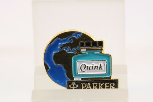 Vintage Parker Gold Plated and Enamel Quink Ink Pin Badges NOS
