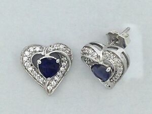 Image Is Loading Heart Shape Natural Iolite With White Topaz Stud