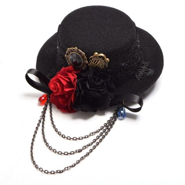 03f1ee11a0f61 Steampunk Headwear Women Mini Top Hat Hair Clip Rose Floral Lace Vintage  Black for sale online
