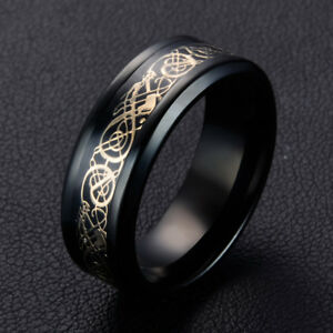 Vintage-Black-8mm-Band-Celtic-Dragon-Tungsten-Carbide-Ring-Men-039-s-Jewelry-7-10