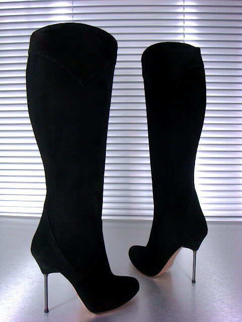 MORI ITALY KNEE HIGH HEELS BOOTS STIEFEL STIVALI SUEDE LEATHER BLACK NERO 37
