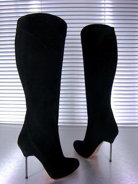 MORI ITALY KNEE HIGH HEELS NEW Stiefel STIEFEL Stiefel SUEDE LEATHER schwarz schwarz 39