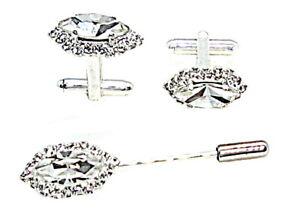 Gemelos Para Camisa de Hombre Y Broche Para Corbata con Cristales Made IN Italy