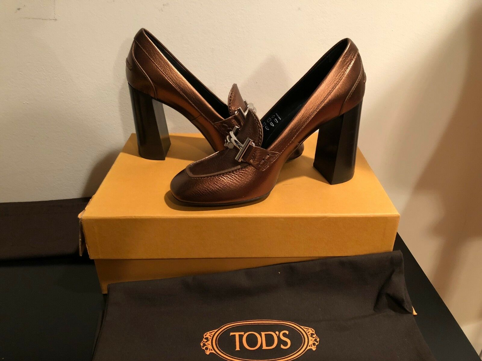 NEW TODS GOMMA T95 ZL MAXI DOPPIA HEELS SHOES BRONZE COPPER LEATHER SIZE 36.5
