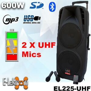Dual-10-034-inch-600W-Mobile-PA-Sound-System-Battery-BT-2-UHF-Mics-Portable-Speaker