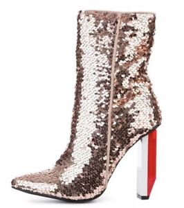 2e7eb48b30d Image is loading Cape-Robbin-Terra-1-Rose-Gold-Sequin-Booties-