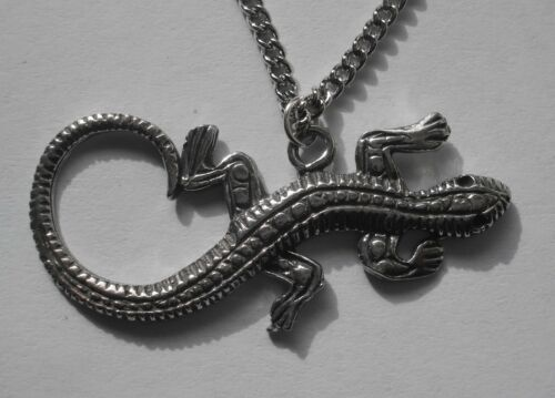 pendant 38mm x 18mm Chain Necklace #1138 Pewter LIZARD