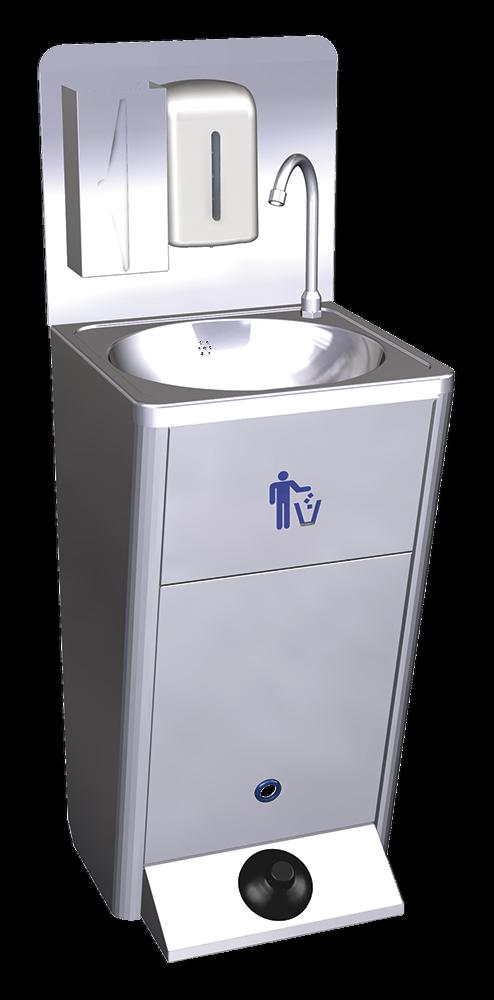 Lave mains autonome inox sur pied et portable 450x450x850 mm