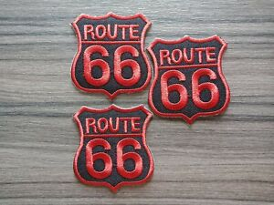 3-pcs-Red-Route-66-Patch-Iron-on-Embroidered-or-Sew-on-Shirt-Jacket-bag-hat-jean