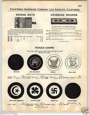 1932 PAPER AD Swastika Clover Leaf Eagle Bulldog Poker ...