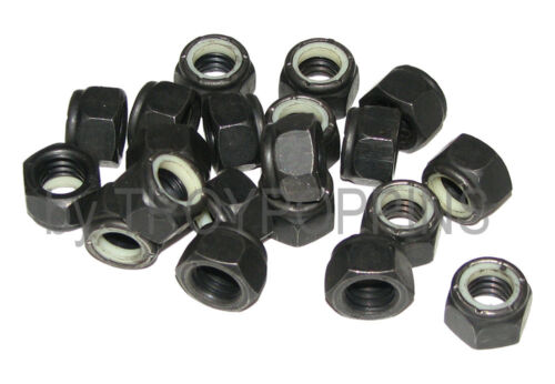 20-PLAIN STEEL-7//16-14 HEX LOCK NUTS NYLOC NYLON FASTENERS SUPPLIES HARDWARE