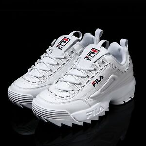 Details about FILA Disruptor II 2 White Tapey Tape Shoes Unisex Size UK 3-9  FS1HTA3091X_WWT