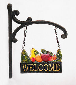 New Country Antique Colour Cast Iron Fruit Welcome Sign Café Shop Home Decor