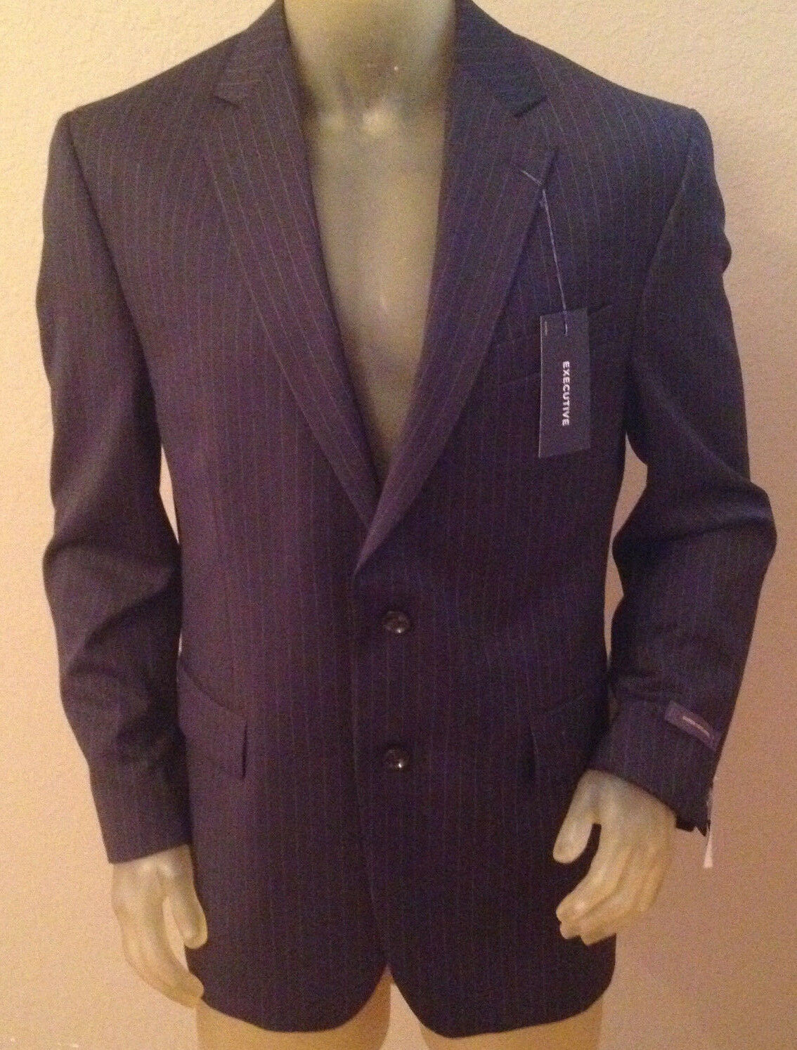 NWT  260 Stafford Executive Classic Fit Navy Stripe Suit jacke herren 46R