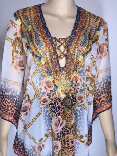 NEW Sparkly Kaftan Crystals Chain Print Leopard Print Coral Floaty Fits 16-20