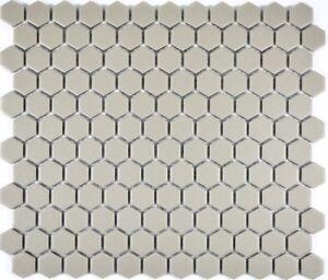 Mosaik-Fliese-Keramik-hellgrau-Hexagon-uni-hellgrau-unglasiert-WB11A-0202-1Matte