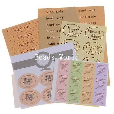 1 Set 74 Pcs 'Handmade' Paper Labels Envelopes Box Seals Sticker DIY 12-140mm