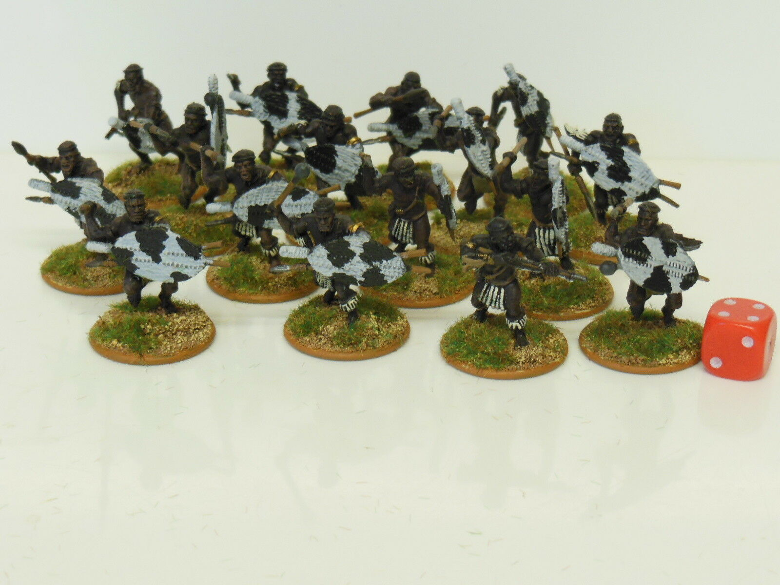 28mm Zulu Warriors - Zulu Wars   Darkest Africa - Painted & Based (R2)