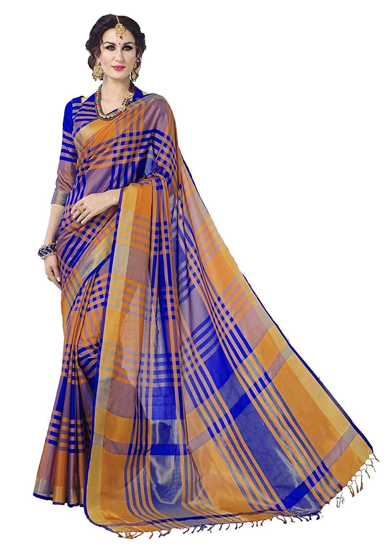 Blue Checkered Bollywood Saree Indian Pakistani Ethnic Party Designer Sari