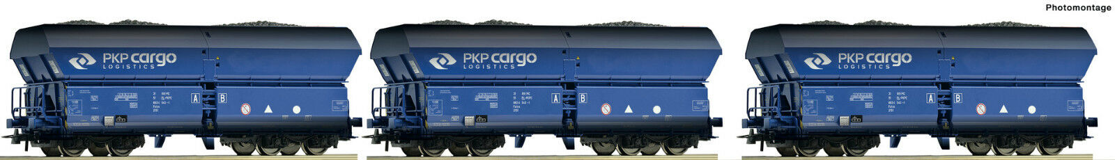 Roco 76130-3-tlg ab Werk ausverka PKP Cargo Set: Selbstentladewag gealtert