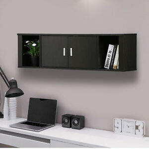 Wall Mount Cabinet Floating Hutch Storage Home Office