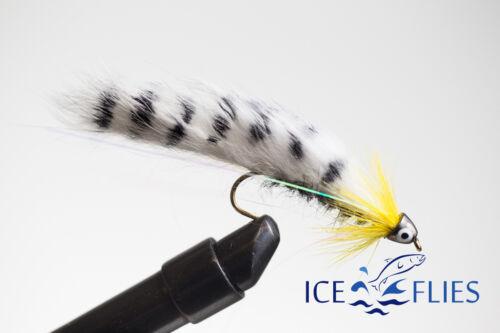 Streamer fly - 10 ICE FLIES Black ghost Zebra Sunburst 3-pack Size 2