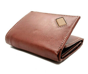 Brown-Handcrafted-Cowhide-Leather-Men-039-s-Trifold-Premium-Wallet-Gift-Box
