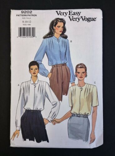 Vogue Very Easy Very Vogue Vintage Pattern 9202 Blouse 8 10 12 Uncut 1995